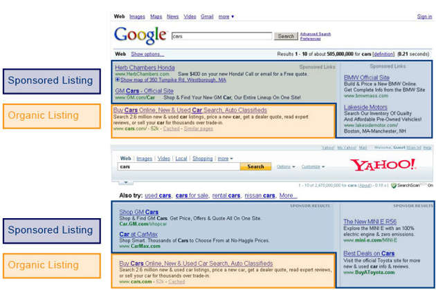 Examples of search engine advertising with google adwords and bing ads